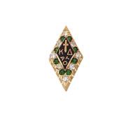 Large Alternating Diamond & Emerald Badge