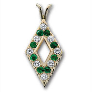 Alternating Diamond & Emerald Pendant