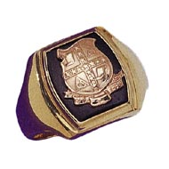 Barrel Shaped Ring with Crest