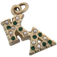 Diagonal Pearl & Emerald Lavaliere