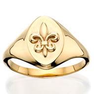 Vertical Fleur-de-lis signet ring