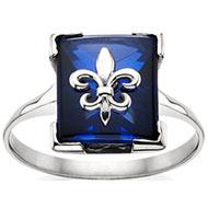 *Sapphire Fleur-de-lis Cushion Ring