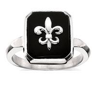 Square Onyx Fleur-de-lis Ring