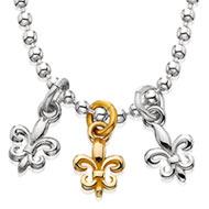 Sterling Silver Tri-Fleur Necklace with 1 10K Fleur-de-lis
