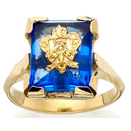 Synthetic Sapphire Cushion Crest Ring