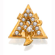 Crown Pearl Badge with Tiffany Diamond