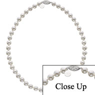 Large Pearl Necklace with Filigree Clasp and small tag