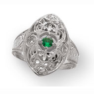 Edwardian Ring with *Emerald Center Stone and CZ Accents