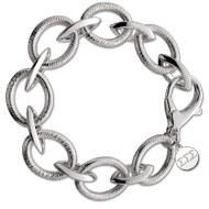 Sterling Silver Coil Bracelet with Small Round Charm