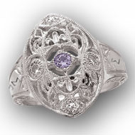Edwardian Ring with *Amethyst Center Stone and CZ accents