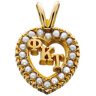 Crown Pearl Monogram Heart Charm