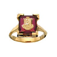 *Ruby Cushion Ring w/Crest
