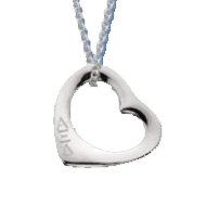 Sterling Silver Pierced Heart Necklace