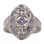 Edwardian Ring with *Amethyst Accents