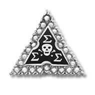 Sterling Silver Crown Pearl Badge