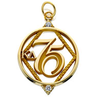 75 Year Diamond Circle Pendant with CZs