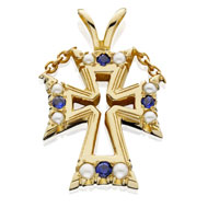 Pierced Pearl & Sapphire Pendant