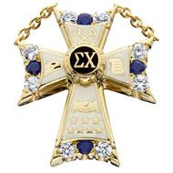 Large CZ & Sapphire Badge