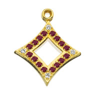 Pierced Crown Garnet Badge Shaped Pendant with Diamond Points