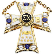 Large Pearl and Sapphire Badge