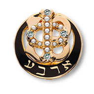 Polished Badge with Pearl Phi and Four Cubic Zirconia