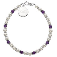 Amethyst and Pearl Bracelet with engraved tag