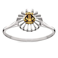Two Tone Mini Lyre Ring