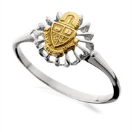 Two Tone Sunburst Mini Crest Ring