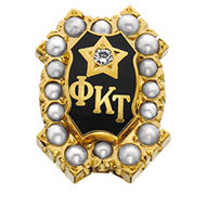 Crown Pearl Badge with Diamond