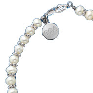 Mini Pearl Bracelet with Engraved Tag