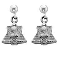 Crest Dangle Ball Post Earrings