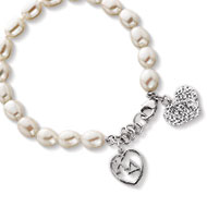 Pearl Bracelet with crystal heart and KD heart lavaliere