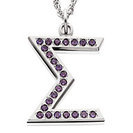 Jeweled Sigma Pendant with amethysts