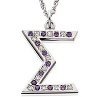 Jeweled Sigma Pendant with alternating diamonds and *amethysts