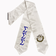 Graduation Stole with Letter and Crest (White)