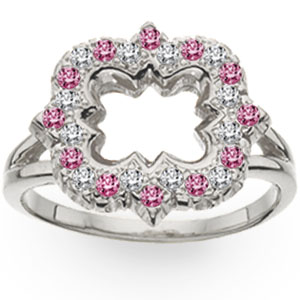 Alternating Diamond and Jewel Quatrefoil Ring