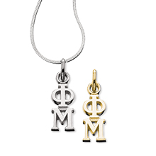 Vertical Letter Lavaliere with chain