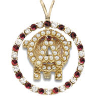 Diamond and Garnet Badge Pendant