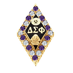 Alternting Amethyst and CZ Badge