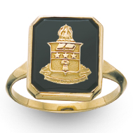 Square Onyx Coat of Arms Ring