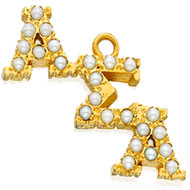 Crown Pearl Staggered Letter Lavaliere