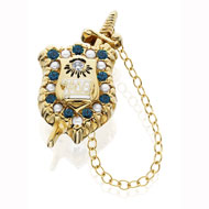 picture of Alternating *Sapphire & Pearl Badge w/ CZ Eye and Permanent Sword