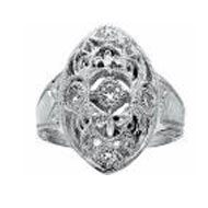 Edwardian Ring with Cubic Zirconia Accents