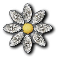 Marguerite Pin with Navette Stones