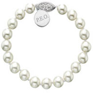Large Pearl Bracelet with Round P.E.O. Tag