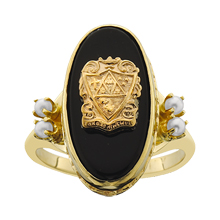 Imperial Crested Onyx Ring w/Pearls