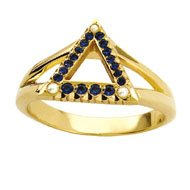 Sapphire Delta Ring with Pearl Points