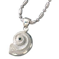 Sterling Silver Nautilus Shell Charm w/*Emerald