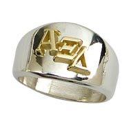 Sisterhood Ring with AXD Greek Letters, SS/10K