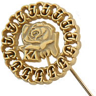 50 Year White Rose Circle Stickpin